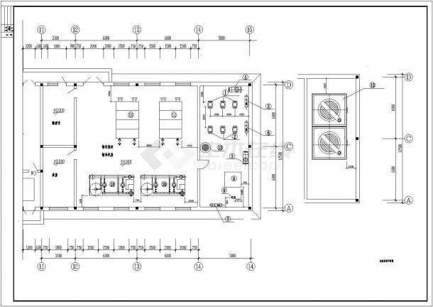 空调制冷机房设计CAD施工详情图-图二