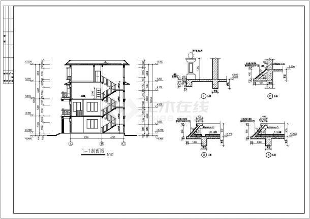 框架四层平屋顶自建房屋详细建筑设计图-图一