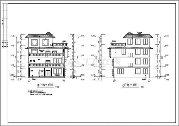 框架四层平屋顶自建房屋详细建筑设计图-图二