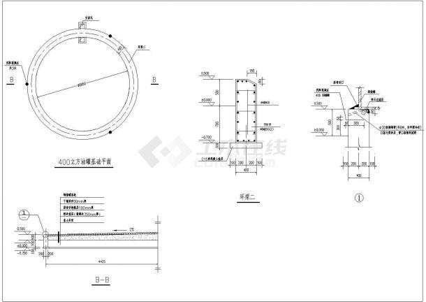 某地区电厂油罐基础结构设计施工图-图二