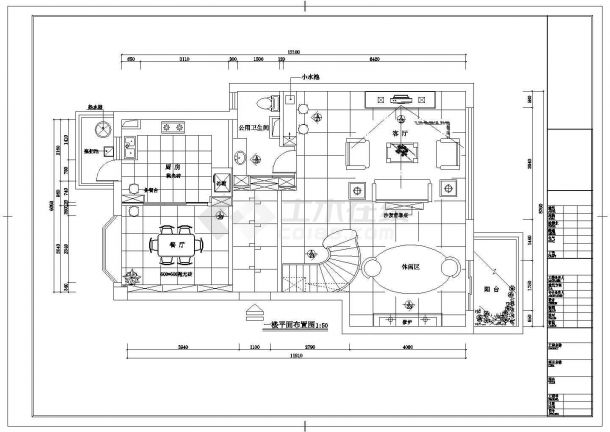 某市豪华别墅区三层别墅室内装修图纸-图一