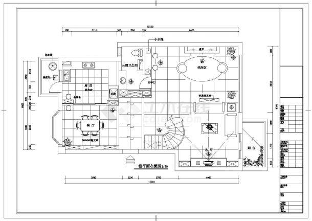 某市豪华别墅区三层别墅室内装修图纸-图二