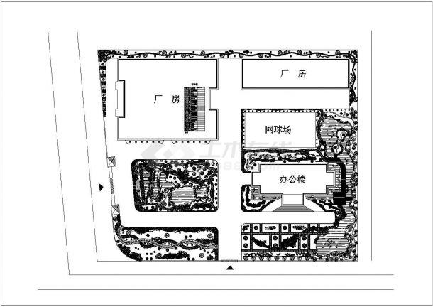 某工厂规划绿化cad景观平面设计施工图植物配置-图一
