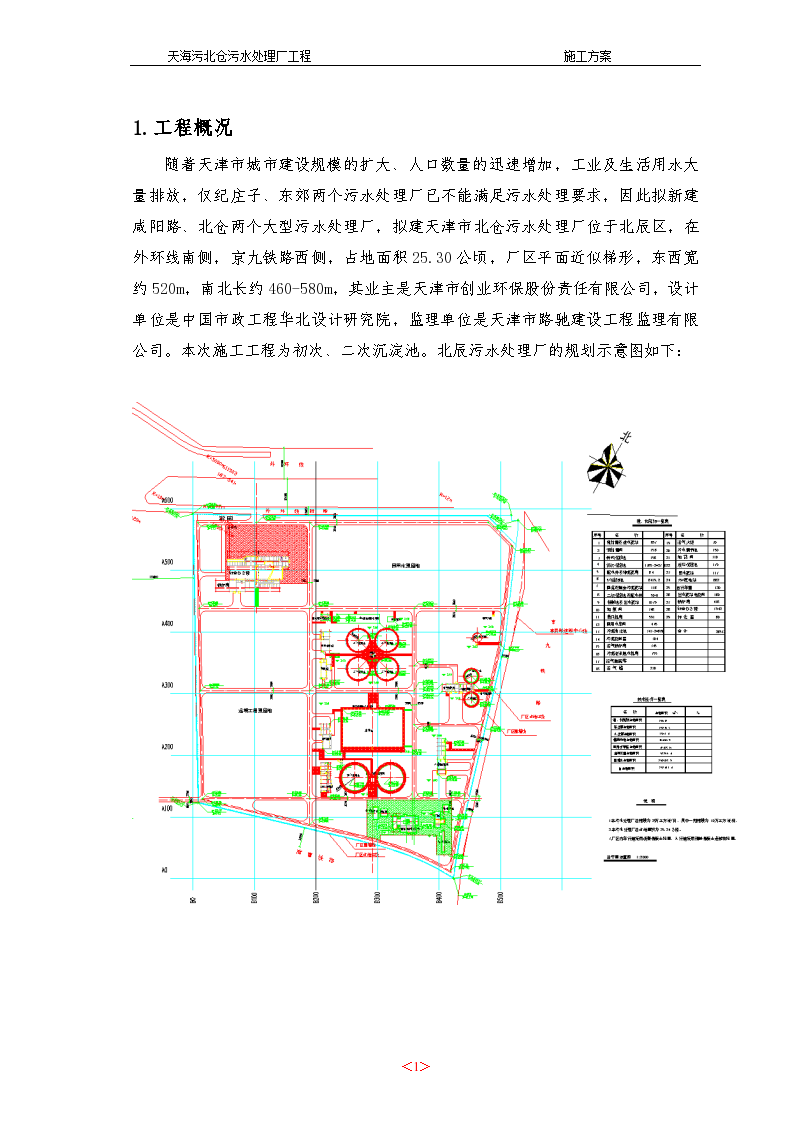 天海污北仓污水处理厂工程施工组织设计方案-图一
