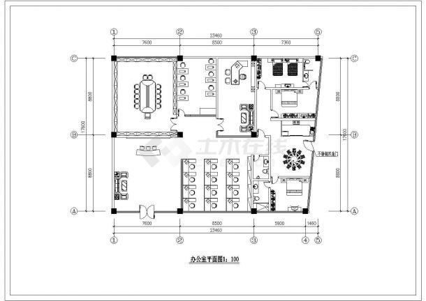 某办公楼建筑全套装修方案施工图纸-图一