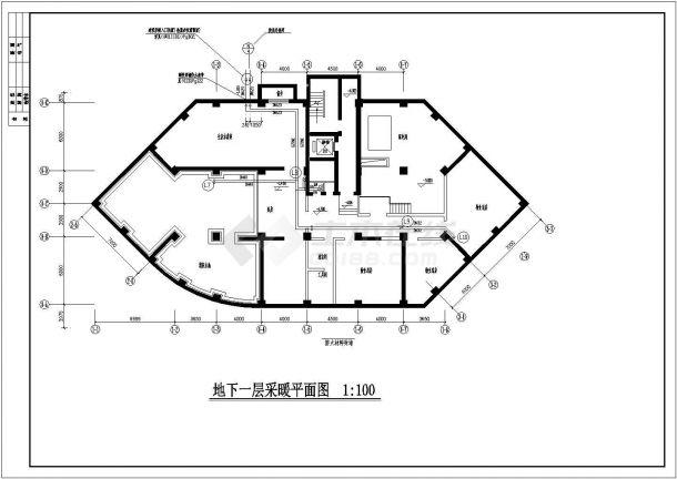 某商住楼散热器及地板辐射采暖系统设计施工图-图一