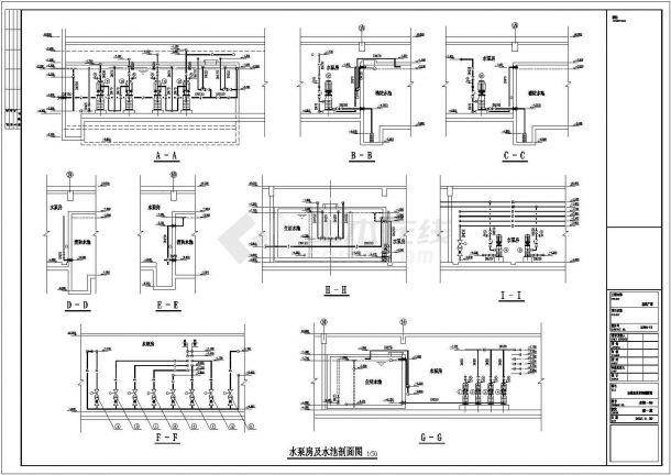 某工程泵房及屋顶消防水箱设计图纸-图一