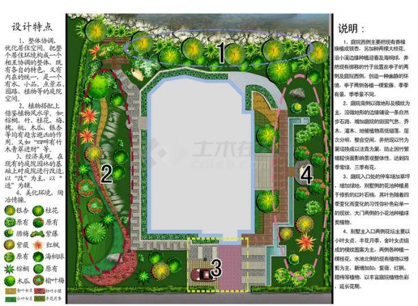 一别墅景观绿化平面效果图-图一