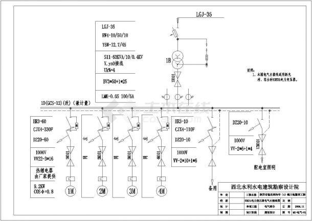 陕西省勉县同沟寺镇土地整理工程电力变压器电气主接线图-图一