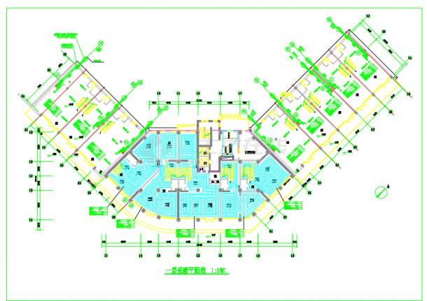 某高层商住楼散热器及地板辐射采暖系统设计施工图-图一