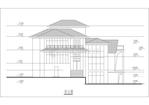 三层框架结构坡屋顶别墅建筑方案图(含效果图及3D模型)-图一