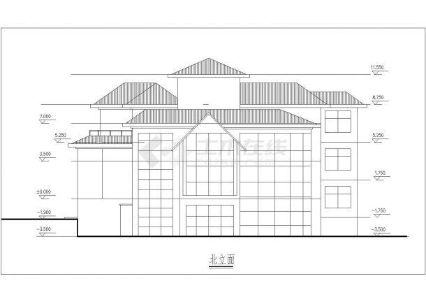 三层框架结构坡屋顶别墅建筑方案图(含效果图及3D模型)-图二