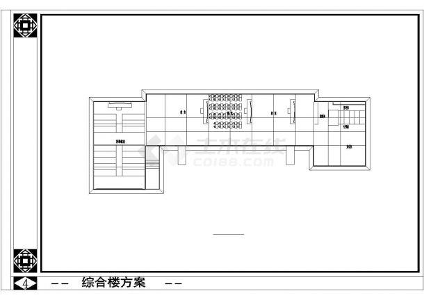 川南某民居风格教学楼框架结构设计图-图一