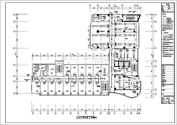 某十五层办公楼螺杆式制冷机组风机盘管加新风系统暖通设计图-图一