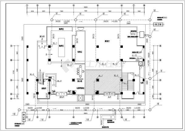 云南某六层砖混结构餐厅给排水施工图-图一