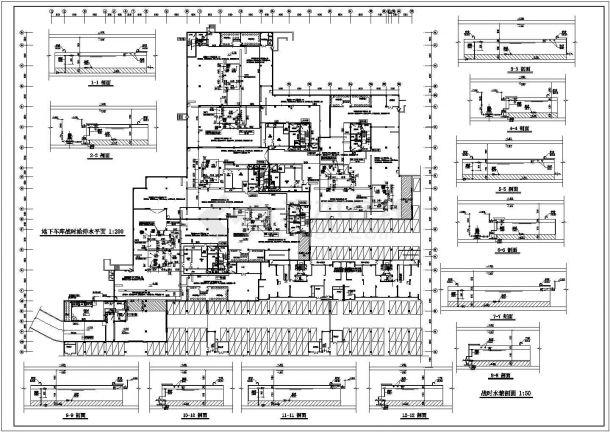 某一类地下汽车库给排水设计方案图-图一