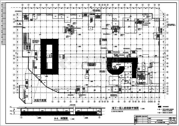 上海某地块商场地下室人防建筑设计施工图纸-图二