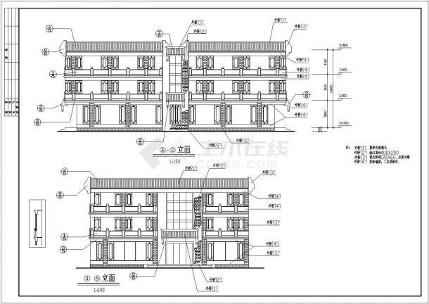 西安报恩寺街5#楼古建营业厅施工图-图一