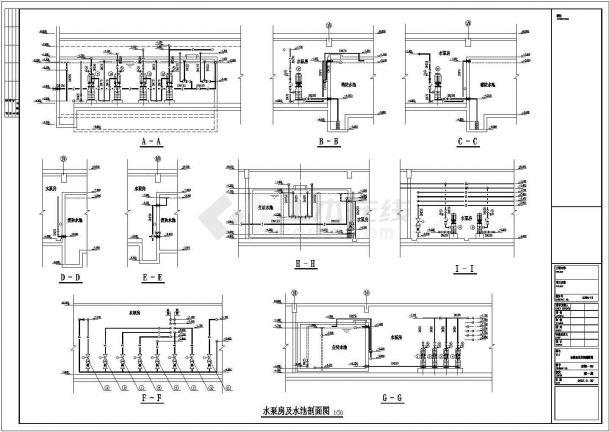 某工程泵房及屋顶消防水箱施工图纸-图一