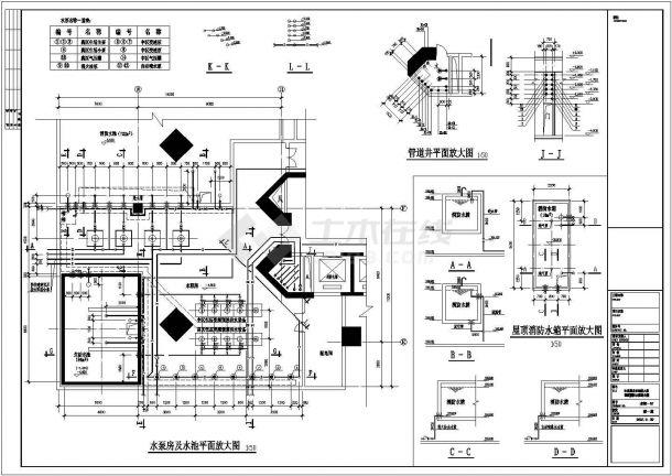 某工程泵房及屋顶消防水箱施工图纸-图二