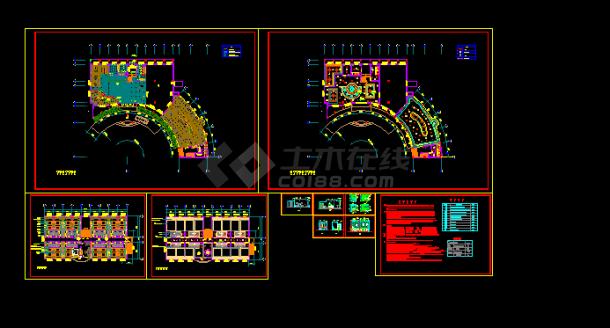 小型度假酒店装修设计方案全套CAD图纸-图一
