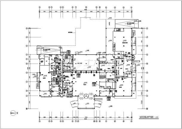 (宙辉大酒店)高层专业酒店暖通空调图纸-图一