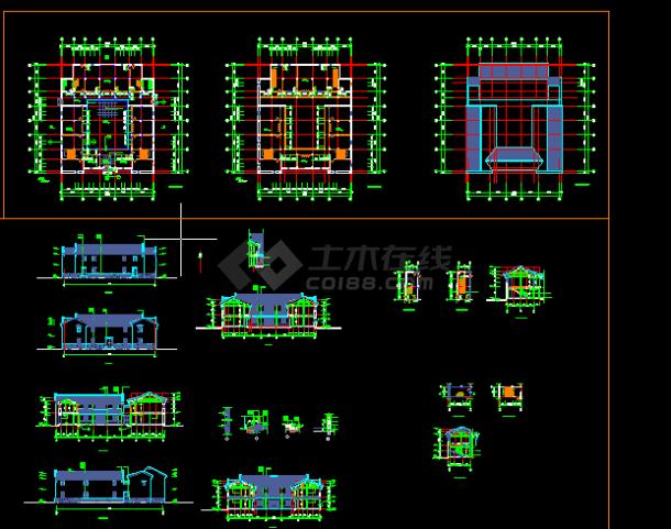 某仿古建筑施工与设计全套CAD图纸-图一