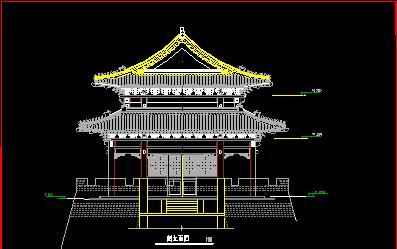某城市仿古建筑施工设计CAD图纸-图二