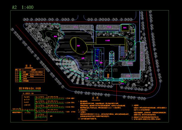 某园区景观照明电气设计图CAD图纸-图一