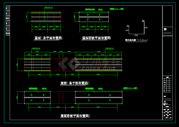 学校钢结构大门结构cad施工设计图-图二