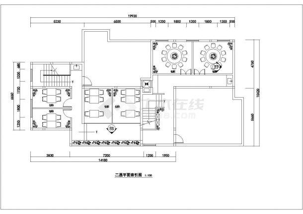 某地二层砖混结构餐厅全套装饰设计施工图-图二