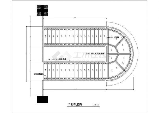 商业装修钢制玻璃楼梯CAD详细节点图纸-图一
