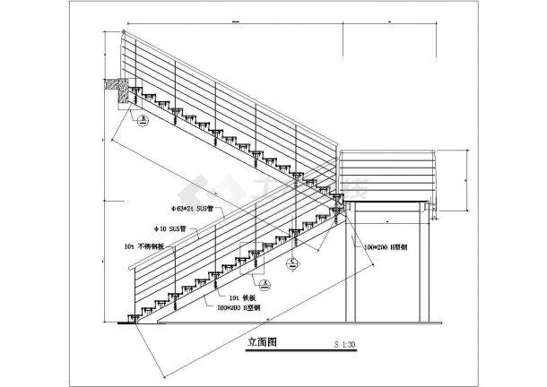 商业装修钢制玻璃楼梯CAD详细节点图纸-图二