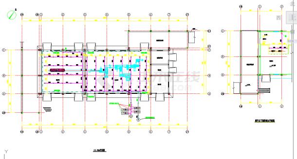 厂房室内雨淋消防给水平面图和系统图-图二