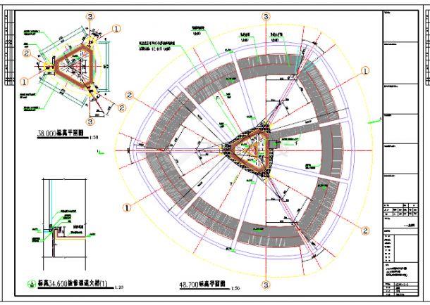 49米高体育中心景观塔结构施工图(含建筑图 18吨消防水箱)-图二