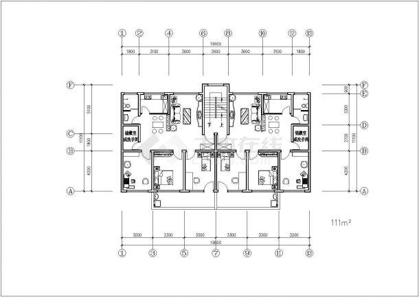 住宅楼户型标准层建筑设计平面图-图一