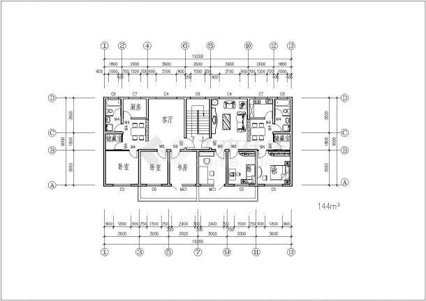住宅楼户型标准层建筑设计平面图-图二