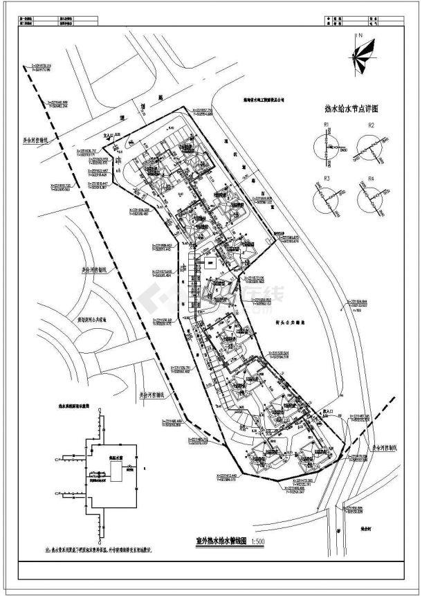 某小区住宅室外给排水管线综合图设计-图一