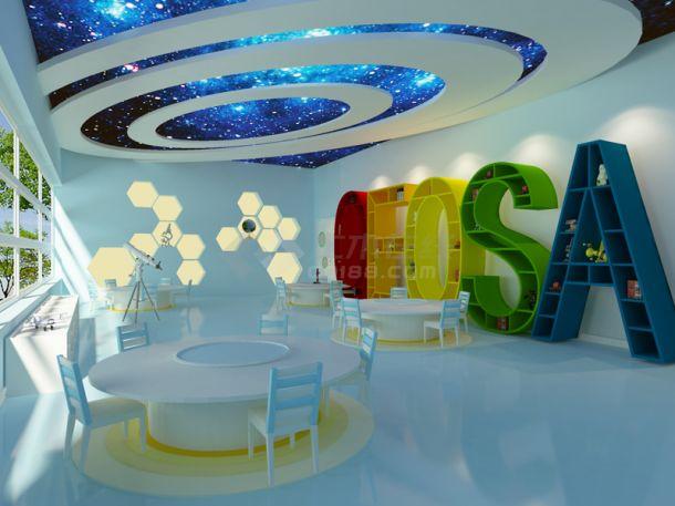 某地青少年活动中心部分教室空间3d模型-图一