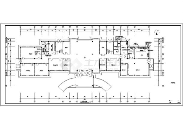 【抚顺】武警支队办公楼办通风设计图-图一