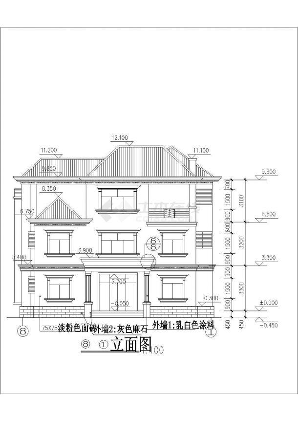 某地三层欧式别墅设计建筑cad图-图一