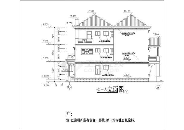 某地三层欧式别墅设计建筑cad图-图二