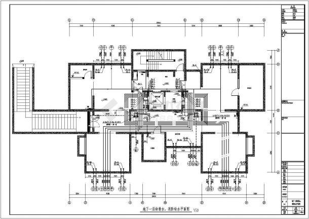 [天津]超高层住宅小区给排水施工图(30层)-图一