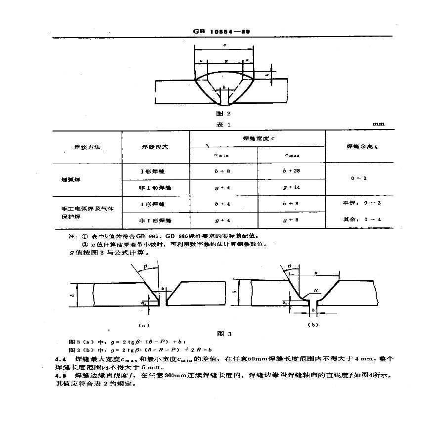 GB10854-89钢结构焊缝外形尺寸-图二