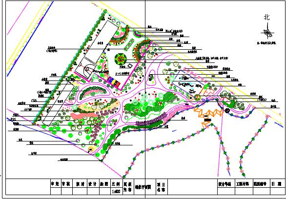某地小型公园植物配置详细设计规划图-图一