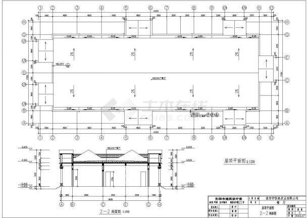 某592㎡单层砖混结构餐厅建筑施工图(高7米)-图二