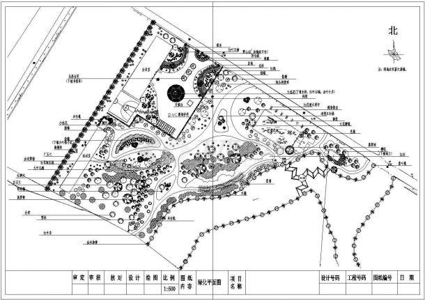 某地公园植物配置园林设计平面图纸-图一