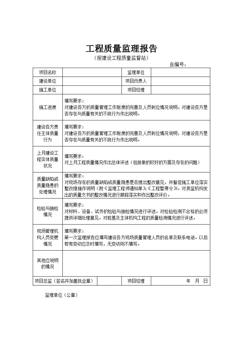 报建设工程质量监督站工程质量监理报告图片1