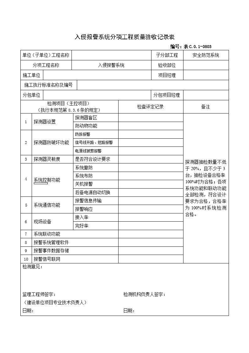 0803入侵报警系统分项工程质量验收记录表图片1