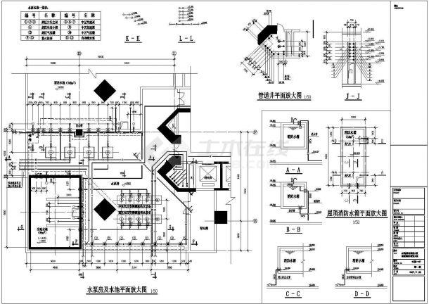 某工程泵房及屋顶消防水箱图纸,含设计说明-图二